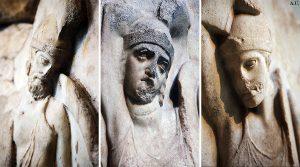 Likya'dan İngiltere'nin Brithis Müzesine kaçırılan anıtın üstünde masum yüzlü ve bakışlı insan kabartmaları bulunmaktadır.