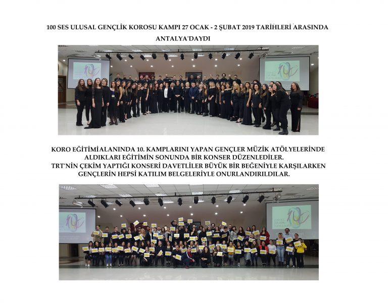 100 Ses Ulusal Gençlik Korosu Kış Kampında Antalya'daydı