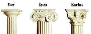 Korint & İyon & Dor sütun ve başlıkları.