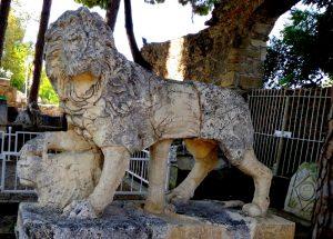 Side aslanı, (Side Müzesi bahçesinde Nice heykelinin yanında sergilenmektedir.)